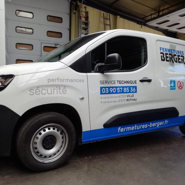 Marquage véhicule pour Fermetures Berger