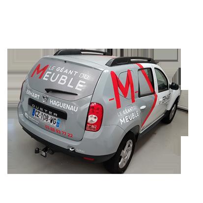 Marquage véhicule pour M le géant du Meuble